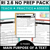 Author's Purpose | RI 2.6 | No Prep Tasks | Assessment | Worksheets