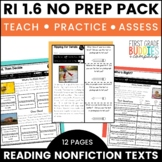 Information from Text and Illustrations | RI 1.6 | No Prep Tasks | Worksheets