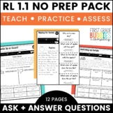 Ask and Answer Questions | RL 1.1 | No Prep Tasks | Assessment | Worksheets
