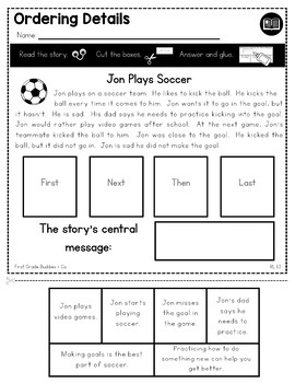 Retelling | Central Message | RL 1.2 | No Prep Tasks | Assessment | Worksheets