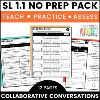 Print a Standard SL 1.1 {Collaborative Conversations} Activities + Assessments