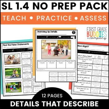Print a Standard SL 1.4 {Describe People, Places, Things, Events} No Prep Pack