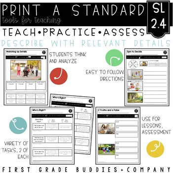Tell and Recount Stories | SL 2.4 | No Prep Tasks | Assessment | Worksheets