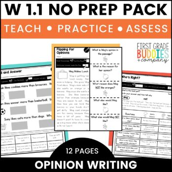 Opinion Writing | W 1.1 | No Prep Tasks | Assessment | Worksheets