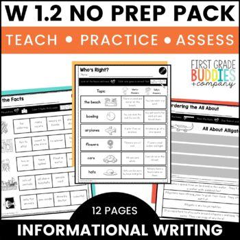 Informative Writing | W 1.2 | No Prep Tasks | Assessment | Worksheets
