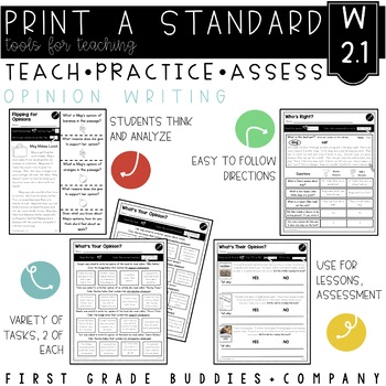 Opinion Writing | W 2.1 | No Prep Tasks | Assessment | Worksheets