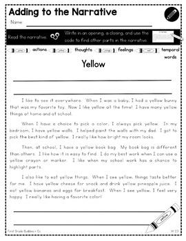 Narrative Writing | W 2.3 | No Prep Tasks | Assessment | Worksheets