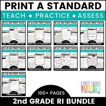 2nd Grade Informational Text Standards | No Prep Tasks | Assessment |Worksheets