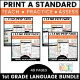 1st Grade Language Standards   No Prep Tasks   Assessment   Worksheets