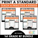 1st Grade Reading Fluency Standards | No Prep Tasks | Assessment | Worksheets