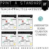 Kindergarten Reading Fluency Standards | No Prep Tasks | Assessment |Worksheets
