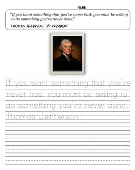 Print and Cursive Handwriting Practice - President Quotes Edition