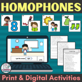 Print and Digital Homophone Activities and Homophone Match
