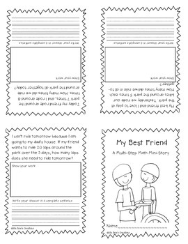 Print and Fold Multi-Step Math Mini-Stories (Word Problems)