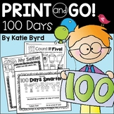 Print and Go! 100 Days Math and Literacy (NO PREP)
