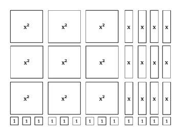 Algebra Tiles - Print and Go FREEBIE