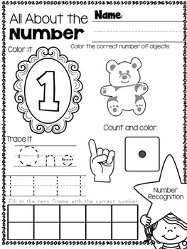 *PRINT and GO* All About Numbers 1-20 Practice Pages
