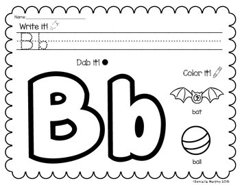 No Prep Alphabet Practice--Write it, Dab it, Color it!