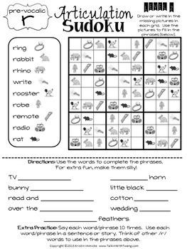 Articulation Sudoku MEGA BUNDLE - No Prep Articulation Worksheets