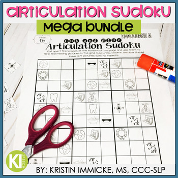 No Prep Articulation Sudoku MEGA BUNDLE for Speech Therapy