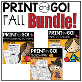 Print and Go! BUNDLE: Fall Math and Literacy (NO PREP)