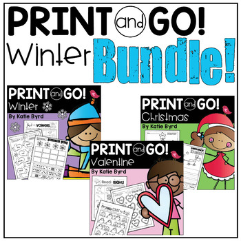 Print and Go! BUNDLE: Winter Math and Literacy (NO PREP)