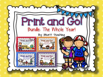 Print and Go Bundle For the Whole Year! {NO PREP Literacy and Math Activities}