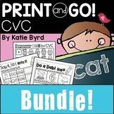 Print and Go! BUNDLE: CVC Word Work and Literacy Practice (NO PREP)