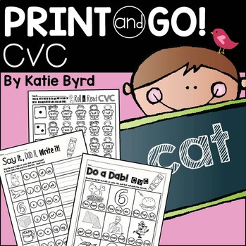 Print and Go! CVC Literacy practice pages (NO PREP)