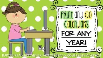 Print and Go Calendars