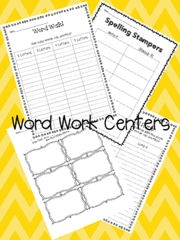 Print and Go Center Worksheets