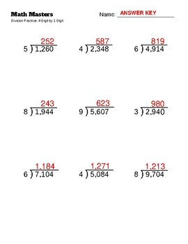 Print and Go Long Division Practice: 4-Digit by 1-Digit