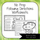 No Prep Following Directions Worksheets