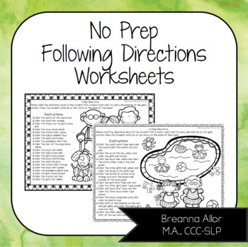 no prep following directions worksheets by breanna allor tpt. Black Bedroom Furniture Sets. Home Design Ideas