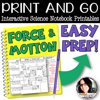 Print and Go: Forces and Motion Interactive Science Printables SPEED & VELOCITY