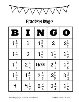 Print-and-Go Fraction Bingo