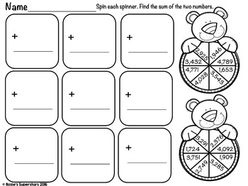Print and Go Freebie: 4 Digit Addition with Regrouping Spinners
