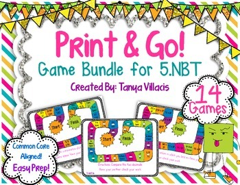 Print and Go Math Centers for Numbers & Operations in Base Ten 5th Grade  5.NBT