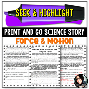 Seek and Highlight, Print & Go Story - Motion (Position, Speed, and Velocity)