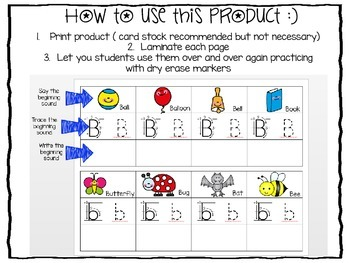 Beginning Sounds Print and Go Letter Formation Task Cards