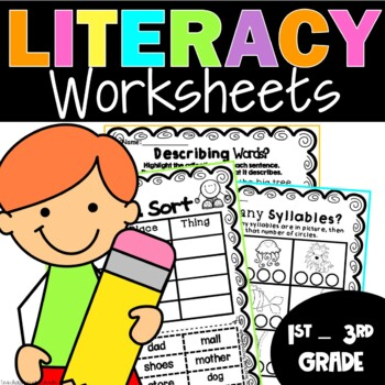 Literacy Worksheets for First and Second Grade