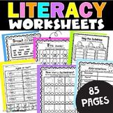 Language Arts Worksheets Packet: 1st and 2nd Grade