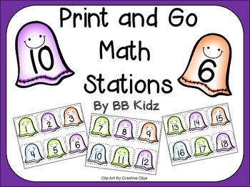 Print and Go Math Number Stations for Halloween / Ghosts / Memory Match