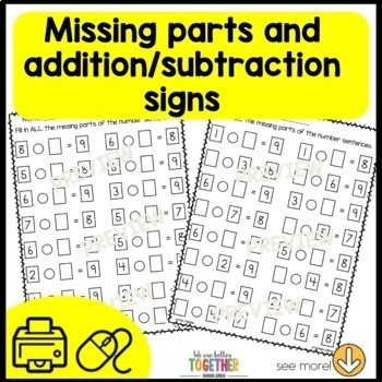 Print and Go Math Sheets (commutative property, addition within 10, subtraction)