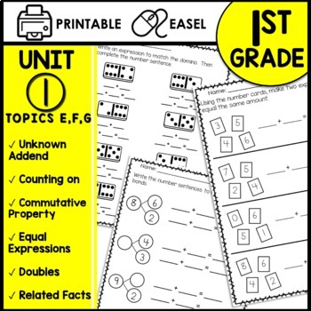 Math Worksheets 1st Grade [commutative property addition within 10, subtraction]