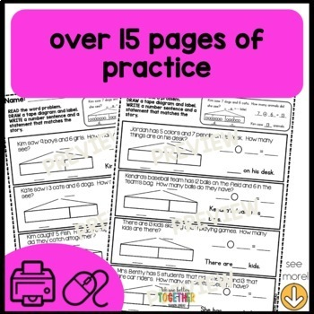 Math Worksheets 1st Grade Word problems within 20