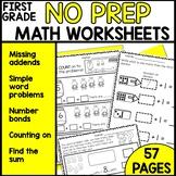 Math Worksheets 1st Grade [missing addends, number bonds]