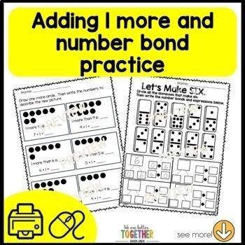 1st Grade Math Worksheets Missing Addends and Number Bonds   Printable pack