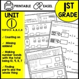 1st Grade Math Worksheets Printable and Digital Google Classroom™ and EASEL