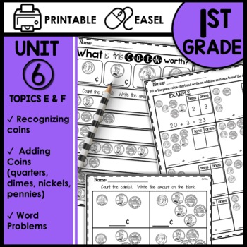 Math Worksheets 1st Grade [recognizing and counting coins]